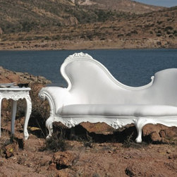 outdoor baroque styled chaise! - amazing ornate furniture for the patio! we are so excited about the amazing look of this!