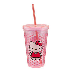 Hello Kitty - Dot Hello Kitty 18-Oz. Travel Cup - Say hello to a new morning with this adorable Hello Kitty-themed cup! It features the precious girl's image on a dotted background, making it a supersweet way to sip drinks while on the go.   Includes cup, lid and straw Holds 18 oz. Plastic Dishwasher safe Imported