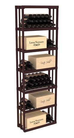 Wine Racks America - Rectangular Wine Storage Bin in Redwood, Walnut - Highly versatile and flexible; this wooden wine storage is able to store wooden and cardboard cases or loose bottles. Finally a rack that allows display of jeroboams on their sides! Designed within our modular specifications, this rack is guaranteed to satisfy. Built to our exceptional quality standards, this storage unit is guaranteed to last.