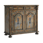 Hooker Furniture - Two-Door Two-Drawer Chest with Bun Feet - This charmingly distressed chest is a one-of-a-kind, country French-inspired piece of furniture. In your dining room it will hold court as it stores your linens and silver. In your foyer it will steal the scene with the lovely metal door pulls and artful nailhead accents.