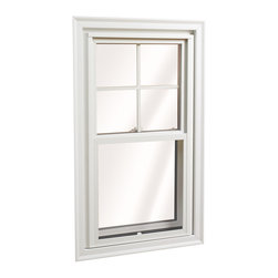 Double Hung Windows - Standard Wellington Double Hung Window; shown in White with grids.