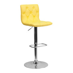 Flash Furniture - Tufted Yellow Vinyl Adjustable Height Bar Stool with Chrome Base - With its buttoned and tufted detailing, this adjustable height bar stool will make a lovely contemporary accent to your kitchen, dining, or bar area. The height adjustable swivel seat adjusts from counter to bar height with the handle located below the seat. The base and footrest have a chrome finish to complement the chair's modern design.