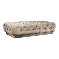 Eco Lux Ottoman - A stylish addition to your home, this luxurious ottoman will add comfort and flexibility to your existing d̩cor. Perfect for placing at the foot of the bed, in front of a large window, or simply against a wall, its button-tufted upholstery provides traditional luxury while its salvaged driftwood-finished base provides ecofriendly modernity.