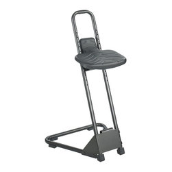 """Safco - Safco Stand Alone Stool - Safco - Drafting Chairs - 5126 - If you get up and sit down several times a day you'll love the Stand Alone Stool. Plus you can find the perfect adjustment for your height because the seat adjusts manually to 10 different positions at 1-1/4"""" intervals. The large contoured seat with lower back support and waterfall front offer amazing comfort while manually adjustable spring suspension seat frame automatically tilts forward up to 15degree. Heavy gauge wrap-around support with built-in footrest adds additional strength to the triangular heavy gauge steel tubular base and frame. Rubber anti-skid support feet give additional support to the frame. It also features black microcellular, self-skinning polyurethane seat with waterfall front. Assembly required. Patent Pending."""