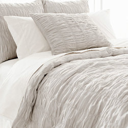 Pine Cone Hill - PCH Smocked Dove Gray Duvet Cover - Loaded with texture, the Smocked duvet cover boasts beloved dressmaker detailing in its ruched facade. The soft and chic PCH bed linen by PCH offers a versatile palette in pale dove gray. Available in twin, full/queen and king; 100% cotton; Button closure; Designed by Pine Cone Hill, an Annie Selke company; Machine wash