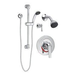 """American Standard - American Standard 1662.223.002 Commercial Shower System Kit, Polished Chrome - American Standard 1662.223.002 Commercial Shower System Kit 2.5 gpm, Polished Chrome. This commercial shower system kit comes complete with the following components: a fixed handshower, a metal hose, a wall supply with 1/2"""" NPT female inlet, 1/2"""" NPSM male outlet, an in-line vacuum breaker, a 36"""" slide bar, a Colony Soft trim kit with showerhead, and a pressure balance shower valve with stops, a 2-way diverter valve, and a Portsmouth diverter handle."""