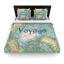 """Kess InHouse - Catherine Holcombe """"Voyage"""" Teal Map Cotton Duvet Cover (Twin, 68"""" x 88"""") - Rest in comfort among this artistically inclined cotton blend duvet cover. This duvet cover is as light as a feather! You will be sure to be the envy of all of your guests with this aesthetically pleasing duvet. We highly recommend washing this as many times as you like as this material will not fade or lose comfort. Cotton blended, this duvet cover is not only beautiful and artistic but can be used year round with a duvet insert! Add our cotton shams to make your bed complete and looking stylish and artistic!"""