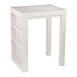 SEI - Sierra Bistro/Desk - White - Expand your options with home furnishings that serve multiple purposes. This piece adds beauty and value to your home as a bistro, desk, or craft station! This painted white table features one solid side with three shelves for storage and display. The top two shelves include a small lip on the edge to display glassware, while the bottom shelf is taller and open to accommodate bottles or other decor. Proudly exhibit your collectible bar ware or favorite kitchen accents with this cozy bistro; create a convenient workspace or show off your craft supplies with this versatile desk. This multiuse piece is ideal for the kitchen, dining room, home office, or craft room. The convenient design and modern finish make this a great addition to homes with virtually any decor, especially transitional to contemporary homes.