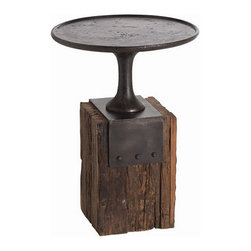 Arteriors Home - Arteriors Home Anvil Cast Iron/Reclaimed Wood Occasional Table - Arteriors Home - Arteriors Home DD2029 - Memories of his grandfather's Tennessee barn inspired the marriage of the wood block base of his anvil and shapes of vintage 19th century cake stands. Maintaining Arteriors' continued commitment to ecological awareness, they found artisans who work in reclaimed wood and hand forged metal to capture the authentic nature of Barry Dixon's design.