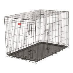 "Jewett-Cameron Companies - 48""L Lucky Dog Training Crate, 2-DR - The Lucky Dog Wire Training Crate is ideal for house training puppies. It is also great for safely transporting your pet in a vehicle. Our wire training crates feature powder-coated welded wire steel for durability, removable plastic crate tray for easy cleaning, clip-on rubber floor protectors. The crates fold down for convenient storage and include a plastic carrying handle."