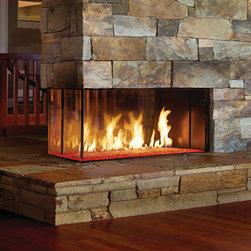 "DaVinci by Travis Industries - DaVinci Custom Linear Gas Fireplaces - Pier: 4 feet wide, 20"" glass height."