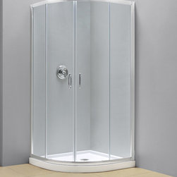"""Dreamline - Prime Frameless Sliding Shower Enclosure & SlimLine 33"""" x 33"""" Quarter Round Base - DreamLine shower kits provide a complete solution to makeover a shower space. The PRIME shower enclosure creates a stunning focal point with a space saving corner installation. Sliding doors create a comfortably wide walk through without claiming the space necessary for a swing door. The PRIME offers a unique shape with a neo-round design, achieved with beautifully curved tempered glass. A SlimLine shower base completes the transformation with a modern low profile design."""