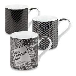 Konitz - High-Tech Mugs: Coffee Processing Unit, Mesh, Carbon, Set of 3 - When coffee becomes a necessity, you need mugs that can handle intense caffeine intake. Taking inspiration from gadgets, computers, and electronics, the High Tech Mug Collection features black and gray metallic patterns and textured finishes.