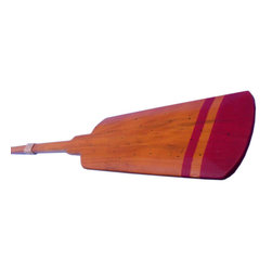 "Handcrafted Nautical Decor - Wooden Santa Cruz Squared Rowing Oar with Hooks 36"" - Oar Decoration - This Wooden Santa Cruz Squared Rowing Oar with Hooks 36 inch is the perfect classic wood paddle to display proudly on your wall. This wood finish is complimented quite well with the white tip painted on the top of the scupper. Use this rustic wooden oar with to accent an open wall or to give as a nautical gift. Enjoy the competitive nautical style of this Santa Cruz Squared Rowing Oar with Hooks 36 inch, indoors or out, and place it with pride."