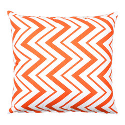 """LaCozi - """"Chevron"""" Orange and White Throw Pillow - Add some zigzag zing to your decor. This bold chevron print pillow is made of 100 percent cotton and quality crafted with double-stitched seams to power up your sofa in style."""