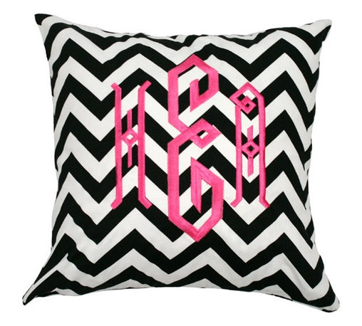 Monogrammed Black and White Chevron Throw Pillow - A lovely monogrammed chevron pillow inspired by a glamorous New York City gal will add that touch of flair to your lair.