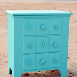 Products You'll Find at Sea Green Designs - Made in the USA and shown in Belize Lacquered finish. Three drawer apothecary chest with sea life knobs. Available in custom sizes and finishes. Shannon Willey