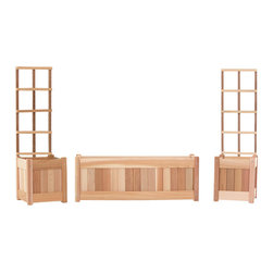 All Things Cedar - 5pc. Planter Set with Trellis - This set includes 2 PL10U planter boxes with trellis plus 1 PL30U planter box Item is made to order.