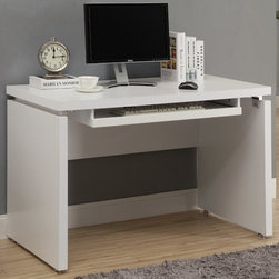 Monarch - White 48in.L Computer Desk - Sleek and contemporary, this white desk is the perfect combination of function, durability and design in a modern form. With clean lines and thick panels, this desk will add style to any home office. Features a large size pull out keyboard tray with room for a mouse. A large desktop surface provides plenty of room for all your hardware and working needs.