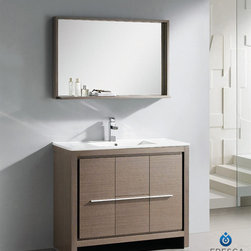 Fresca - Fresca Allier 40-inch Grey Oak Modern Bathroom Vanity with Mirror - The Fresca 40-inch Allier is a sleek,modern free standing vanity with plenty of storage space. This set is accented nicely with a matching mirror with small shelf with a perfect balance of hues and textures.