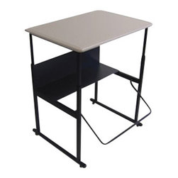 "Safco - Safco AlphaBetter 24"" x 36"" Student Desk in Beige - Safco - Computer Desks - 1206BE - The Safco Alpha Better Student 24"" �x 36"" � Desk is designed for students between grades 3 and 12 to aid your student's comfort and focus at home or in the classroom. for many students everyday classroom life involves trying to sit still taking focus away from learning. with the Alpha Better a Desk students are able to stand up during the school day and move around without being a distraction to their classmates or teachers all while improving their concentration. This completely new way of learning is creating a more productive learning environment. Research has shown standing alone can burn extra calories and with the ability to move around students burn more excess energy and improves focus."