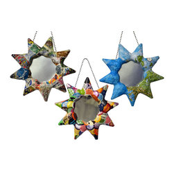 """Mirrors Decorated - """"Sun"""" Handcrafted Papier-mache, Mirror Ornaments - Set of 3 - American made with a World View. Handcrafted papier-mâché, mirror ornaments creatively collaged. This selection includes 3 ornaments designed with: 1) An attractive, multicolored International Map, 2) World Stamps, from a bonanza of topical and pictorial stamps. Effort insures no two stamps are used on one piece and 3) """"Patchwork"""", a vivid mosaic of mix and match colored paper: plain and patterned.  The papier-mâché is made of discarded newspaper. An artist signature label is adhered to the back of each mirror. Also, the hanging hook and mirror are secured to the frames with the papier-mâché. Glass mirrors."""