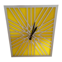 Surface Grooves - Clock - Laser Cut Acrylic Mirror / Yellow - Laser cut mirror acrylic geometric pattern on top of yellow acrylic. Great for home or office.
