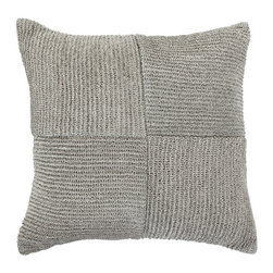 """Bandhini - Raffia Knit Medium Throw Pillow - This contemporary throw pillow offers eclectic and modern simplicity. Across beige linen, knit black raffia lines form a textured geometric block pattern. 18""""W x 18""""H; 100% raffia on 100% linen; Dry clean; Grey goose down fill insert included"""