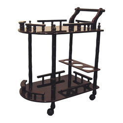ORE International - 2-Tier Bar Cart with Wine Storage - Kitchen cart-style. Rail sides . Casters for easy mobility . Built-in wine rack storage . Made of wood composite . 23.5 in. L x 15 in. W x 29 in. H (15 lbs.)Serve drinks, appetizers and more from this two-tier bar cart, a versatile addition to any gathering.