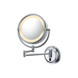 Double-sided Light Wall Mirror - This 5X-1X double-sided lighted makeup mirror features a 6.5-inch viewing diameter. The mirrors can extend 15 inches from the wall, and it powered through a 6-foot white coiled grounded electrical chord. Available in a brushed nickel finish