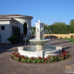 Limestone Fountain - This is a limestone fountain that we designed, carved, and installed.