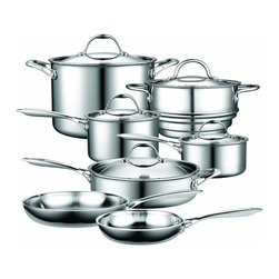 Cooks Standard - Cooks Standard 12-Piece Multi-Ply Clad Stainless-Steel Cookware Set, NC-00232 - What's in box, 12-Piece set include 1.5-Quart Sauce Pan with Lid, 3-Quart Sauce Pan with Lid, 8-inch Steamer insert Pan fit both 1.5-Quart sauce Pan and 3-Quart sauce Pan, steamer with Lid, This Lid can also fit 8-inch Saute Pan, 8-inch Saute Pan, 10-inch Saute Pan, 8-Quart stockpot with Stainless steel Lid and include a 11-inch Deep Saute Pan 5-Quart with 11-inch Lid.