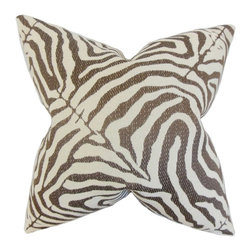"""The Pillow Collection - Oluchi Zebra Print Pillow, Cocoa 20"""" x 20"""" - Add an exotic element to your interiors with this accent pillow."""