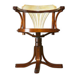 """Ivory & Honey Purser's Chair - The ivory  honey purser's chair measures 21.75 x 24 x 31"""". Striking, yet unassuming, our Purser's Chair is the answer to many requests for a desk chair to match our collection of desks. The classic design goes back to utilitarian furniture from the Belle Epoque. Handmade in cherry and maple, this chair will survive the ages when treated with respect. Wrought iron hardware. Lightweight, yet sturdy construction. Comfortable and solid, turns every direction."""