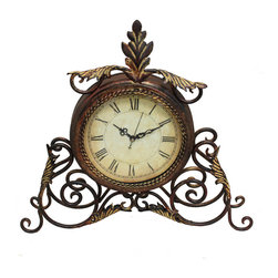 None - Athena Metal Scroll Table/Desk Clock - This Athena copper-tone table clock with quartz movement is perfect for adding an old-fashioned touch to any room. The antique finish will make this clock look great on your mantel. The battery operation gives you unlimited placement options.