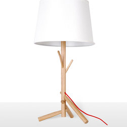 Modern Table Beside Lamps with White Shade and Branch Stand - Bring a bit of nature indoors and light up your room with a modern twist. The tree form mounted to a sturdy wooden base. A monochromatic white shade completes the look elegantly. It's ready for your bedside table or bedroom.