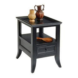 Liberty Furniture - Rectangular End Table - One drawer. Charming transitional style. Hand-woven baskets. Ample storage. Warranty: One year. Made from hardwood solids and veneers. Multi-step hand applied rubbed black finish. Minimal assembly required. 18 in. W x 27 in. D x 24 in. H (42 lbs.)