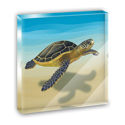 """Made on Terra - Sea Turtle Mini Desk Plaque and Paperweight - You glance over at your miniature acrylic plaque and your spirits are instantly lifted. It's just too cute! From it's petite size to the unique design, it's the perfect punctuation for your shelf or desk, depending on where you want to place it at that moment. At this moment, it's standing up on its own, but you know it also looks great flat on a desk as a paper weight. Choose from Made on Terra's many wonderful acrylic decorations. Measures approximately 4"""" width x 4"""" in length x 1/2"""" in depth. Made of acrylic. Artwork is printed on the back for a cool effect. Self-standing."""