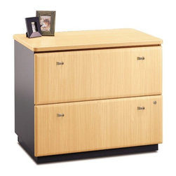 "Bush - Series A: Lateral File - The Series A Collection combines modularity, strength and sensibility into a powerful solution for the workstation environment. Versatile configuration possibilities enable diverse, customized workforce set-up. The lateral file fits in multiple locations to enable any kind of work. The versatile Series A Collection is available in seven finishes and is completely modular, suitable for both small businesses and expansive corporate environments. Please call if you need a setup not available on our site, and our customer service representatives will be happy to help plan a configuration that will work for you. Features: -Commercial quality and protected by manufacturer's 10 year warranty .-Vacu-form, vinyl-clad drawer fronts .-Two drawers hold letter-, legal- or A4-size files .-Interlocking drawers prevent tipping .-Individual drawer locks .-Full-extension, ball-bearing slides allow easy file access .-Gang lock with interchangeable core affords privacy and flexibility .-Levelers provide stability on uneven floors .-Matches height of Desks for side-by-side configuration .-Ships Ready-to-Assemble .-Meets ANSI/BIFMA performance standards for safety and stability Specifications: .-Overall Dimensions: 36"" W x 23.35"" D x 29 7/8"" H .- Choose from Beech/Slate Gray, Hansen Cherry/Galaxy, Light Oak/Sage, Natural Cherry/Slate Gray, Pewter/ White Spectrum, Slate/White Spectrum, and Sienna Walnut/Bronze. ."