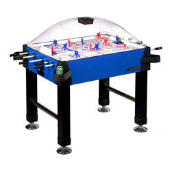 "Carrom - Blue Bubble Hockey Game Table w Cupholders - This classy stick hockey table is set in a blue and black color scheme, and overlaid with a strong, shatter-resistant dome to keep the puck inside and everything else out.  Support is given by four vinyl legs and four chrome supports.  A highly durable design, which includes two sets of players and an electronic scorekeeper which utilizes both light and sound to celebrate each goal!  A challenging addition to any room, this game table will provide kids of any age with enough excitement and fun to last possibly hours.  One of the most unique features of this table is that this stick hockey table has cup holders in order to keep anything from getting spilt over on to the table! * Heavy miterfold black vinyl legs chrome plated leg levelers for easy and accurate leveling. Heavy 2 inch triple chrome plated leg supports. Thick shatter resistant dome manufactured from PETG. Heavy gauge cabinet materials and melamine surface for durability. All corners covered with protective caps and slide-on cup holders. Battery operated scoring unit tracks periods and celebrates each goal scored with light and sound. Full perimeter extra thick edge banding on cabinet protects the cabinet. Rods are solid fiberglass and are factory assembled to the gear mechanism. Play surface is thick styrene with custom coated graphics for faster passing and shooting. Play surface is supported from end to end to ensure quality level play. Scoring unit may be reset at any time and will shut down after 2-3 minutes of non-use. Gears are precision injection molded for longer wear and include an internal slip clutch to prevent binding and shearing. Game includes two pucks and two sets of players - one paintable and one hand-painted. Game comes fully assembled except for legs, electronic scoring unit and cup holders45 1/4"" Length, 33 3/4"" Width, 58"" Width with longest rod protruding, 51"" Height"