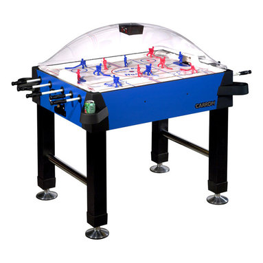 """Carrom - Blue Bubble Hockey Game Table w Cupholders - This classy stick hockey table is set in a blue and black color scheme, and overlaid with a strong, shatter-resistant dome to keep the puck inside and everything else out.  Support is given by four vinyl legs and four chrome supports.  A highly durable design, which includes two sets of players and an electronic scorekeeper which utilizes both light and sound to celebrate each goal!  A challenging addition to any room, this game table will provide kids of any age with enough excitement and fun to last possibly hours.  One of the most unique features of this table is that this stick hockey table has cup holders in order to keep anything from getting spilt over on to the table! * Heavy miterfold black vinyl legs chrome plated leg levelers for easy and accurate leveling. Heavy 2 inch triple chrome plated leg supports. Thick shatter resistant dome manufactured from PETG. Heavy gauge cabinet materials and melamine surface for durability. All corners covered with protective caps and slide-on cup holders. Battery operated scoring unit tracks periods and celebrates each goal scored with light and sound. Full perimeter extra thick edge banding on cabinet protects the cabinet. Rods are solid fiberglass and are factory assembled to the gear mechanism. Play surface is thick styrene with custom coated graphics for faster passing and shooting. Play surface is supported from end to end to ensure quality level play. Scoring unit may be reset at any time and will shut down after 2-3 minutes of non-use. Gears are precision injection molded for longer wear and include an internal slip clutch to prevent binding and shearing. Game includes two pucks and two sets of players - one paintable and one hand-painted. Game comes fully assembled except for legs, electronic scoring unit and cup holders45 1/4"""" Length, 33 3/4"""" Width, 58"""" Width with longest rod protruding, 51"""" Height"""