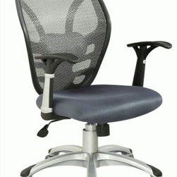 Chintaly Imports - Mesh Seat and Back Pneumatic Gas Lift Contemporary Office Chair - Pneumatic gas lift adjustable height swivel office chair. Seat is upholstered in grey cloth mesh with Black Armrests. 5 star caster base allow the chair to move with ease. Base is finished in silver.