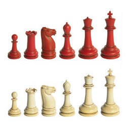 "Classic Staunton Chess Set - The classic Staunton chess set measures 11.25 x 11 x 1.75"". This item does not include the chess board. This is THE classic set that established a worldwide standard used since the mid-19th C. Study the King's crown and Queen's coronet, details of bishops and rooks, knights modeled after marble stallion heads from the Parthenon, on down to the diminutive pawn. Admire the simple, yet elegant contours. Well-weighted. Shaped to hold, to touch, to admire... To be gazed at in unwavering and total concentration. Our production is a detailed replica of an original ivory set manufactured by the British 'Jacques' company, circa 1850, and purchased at a 1990s London auction. English chess master, Howard Saunton, promoted this set at the first international chess tournament in 1851. It's clearly distinguishable pieces soon became the competition standard known as the 'Staunton' set."