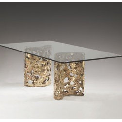 """Silas Seandel, Inc. - Silas Seandel Bronze Filigree Double Pedestal Dining Table - Pictured is an authentic Silas Seandel dining table. """"Bronze Filigree Dining Table"""" is executed in natural bronze with a 3/4"""" glass top."""