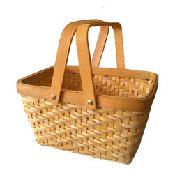Rectangular Chip Picnic Basket - Features: Basket.-Material: Wood.-For picnics, bridal favors, doll accessories, or craft projects. Includes: Drop handles included.