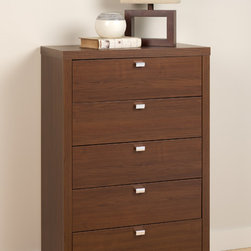 Prepac Medium Brown Walnut Series 9 Designer 5-Drawer Chest - This chest pairs substance and style with 5 drawers that provide plenty of storage space. Constructed from CARB-compliant, laminated composite woods with a sturdy MDF backer. The walnut finish contrasts with the chrome finished metal drawer pulls to complete the modern styling.