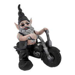 `Gnoschitt Rides Again` Biker Garden Gnome on Motorcycle Statue 12 Inch - Gnoschitt the biker garden gnome is getting his motor running!! Ghoschitt sits high on the Hog with his blacked out motorcycle. He wears a leather vest, black chaps and jeans, curved-toed boots and sunglasses. Made of cold cast resin, the gnome measures 12 inches tall, 8 1/2 inches wide and 10 1/2 inches long. He`s hand-painted, and shows great detail. He makes a wonderful gift for any bike or garden gnome collector.