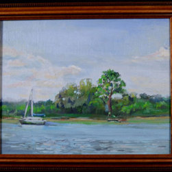 Island Mooring (Original) by Vt Browne - VT Browne, trained in art, architecture and historic preservation and has been painting full time for nearly the last three years. They have been painting for their own enjoyment, they are now starting to make some of their work available to others.