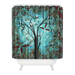DENY Designs - madart inc Romantic Evening Shower Curtain - Who says bathrooms can't be fun? To get the most bang for your buck, start with an artistic, inventive shower curtain. We've got endless options that will really make your bathroom pop. Heck, your guests may start spending a little extra time in there because of it!