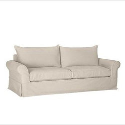 """PB Comfort Roll-Arm Slipcovered Sofa, Polyester Wrap Cushions, Brushed Canvas St - Sink into this sofa just once, and you'll know how it got its name. Designed with extra-deep seats and three layers of thick padding on the arms and back, this eco-friendly collection invites a whole family to relax together. 83.5"""" w x 40"""" d x 37"""" h {{link path='pages/popups/PB-FG-Comfort-Roll-Arm-4.html' class='popup' width='720' height='800'}}View the dimension diagram for more information{{/link}}. {{link path='pages/popups/PB-FG-Comfort-Roll-Arm-6.html' class='popup' width='720' height='800'}}The fit & measuring guide should be read prior to placing your order{{/link}}. Choose polyester wrapped cushions for a tailored and neat look, or down-blend for a casual and relaxed look. Choice of knife-edged or box-style back cushions. Proudly made in America, {{link path='/stylehouse/videos/videos/pbq_v36_rel.html?cm_sp=Video_PIP-_-PBQUALITY-_-SUTTER_STREET' class='popup' width='950' height='300'}}view video{{/link}}. For shipping and return information, click on the shipping tab. When making your selection, see the Quick Ship and Special Order fabrics below. {{link path='pages/popups/PB-FG-Comfort-Roll-Arm-7.html' class='popup' width='720' height='800'}} Additional fabrics not shown below can be seen here{{/link}}. Please call 1.888.779.5176 to place your order for these additional fabrics."""